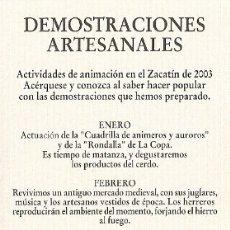 Coleccionismo Marcapáginas: MARCAPAGINAS CALENDARIO ZACATIN 2003. Lote 178135307