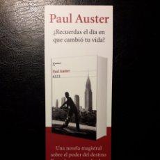 Coleccionismo Marcapáginas: MARCAPAGINAS EDITORIAL SEIX BARRAL. PAUL AUSTER. 4321. PEDIDO MÍNIMO 3 EUROS.. Lote 193758313