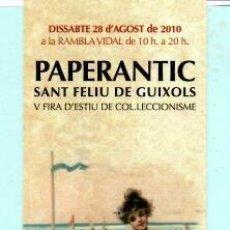 Coleccionismo Marcapáginas: MARCAPÁGINAS DE EDITO DE PAPERANTIC TITULO V FIRA EN SANT FELIU DE GUIXOLS . Lote 194011207