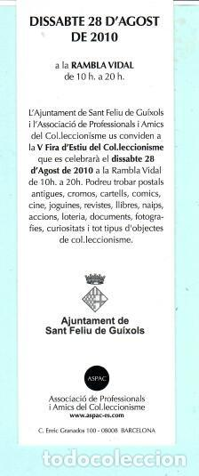 Coleccionismo Marcapáginas: MARCAPÁGINAS DE EDITO DE PAPERANTIC TITULO VI FIRA EN SANT FELIU DE GUIXOLS - Foto 2 - 194011232