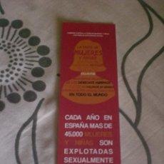 Coleccionismo Marcapáginas: MARCAPÁGINAS FEMINISTA TRATA MUJERES ESPAÑA. Lote 194127162