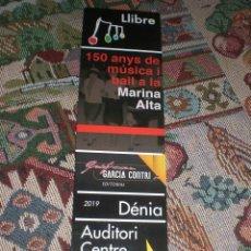Coleccionismo Marcapáginas: MARCAPÁGINAS MÚSICA MARINA ALTA. Lote 194947411