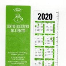 Coleccionismo Marcapáginas: MARCAPÁGINAS - CENTRO GEOGRÁFICO DEL EJÉRCITO - CON CALENDARIO DE 2020. Lote 195455715