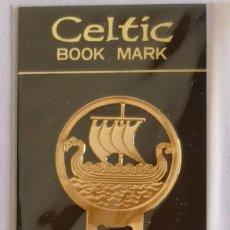 Coleccionismo Marcapáginas: MARCAPAGINAS, CELTIC BOOK MARK SEA GEMS REF-8 METÁLICO CHAPADO DORADO. Lote 197752547