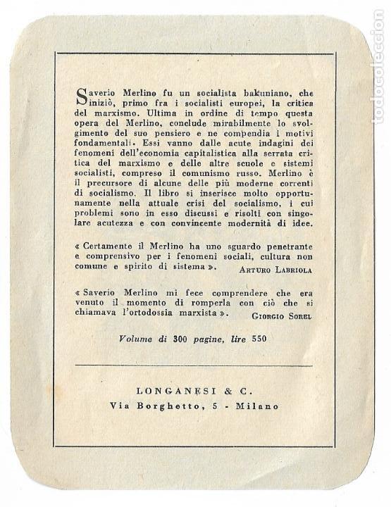 Coleccionismo Marcapáginas: MARCAPÁGINAS - EL PROBLEMA ECONÓMICO Y POLÍTICO DEL SOCIALISMO - SAVERIO MERLINO - Foto 2 - 197936743