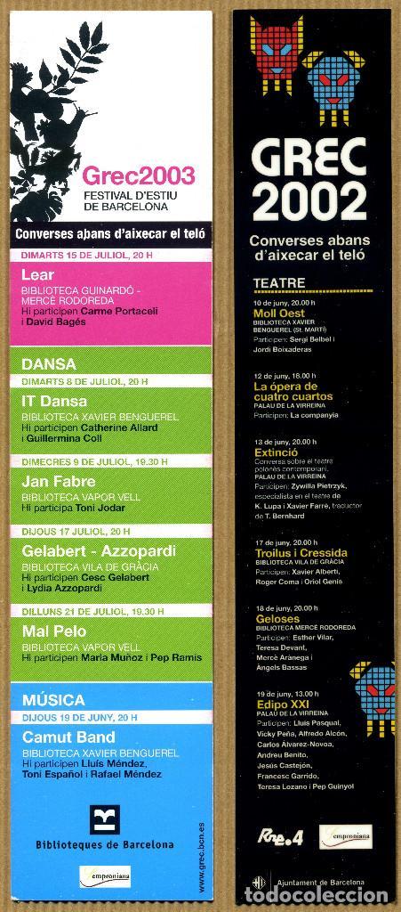 2 MARCAPÁGINAS - GREC 2002 - 2003 (Coleccionismo - Marcapáginas)