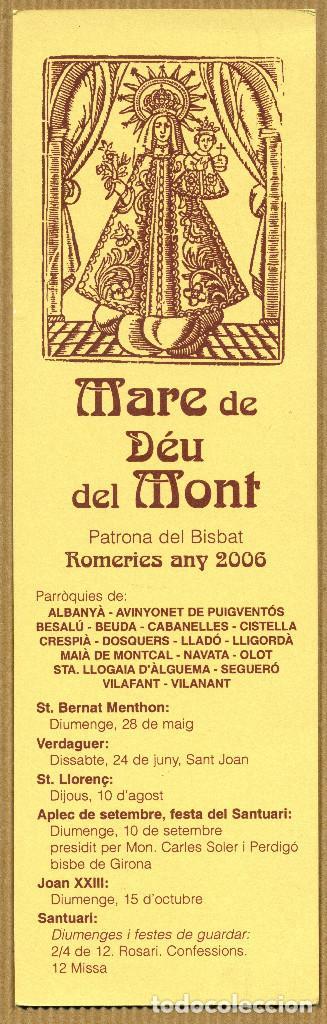 MARCAPÁGINAS - MARE DE DEU DEL MONT (Coleccionismo - Marcapáginas)