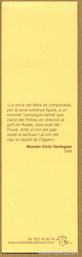 Coleccionismo Marcapáginas: Marcapáginas - MARE DE DEU DEL MONT - Foto 2 - 197961401