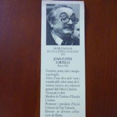 Coleccionismo Marcapáginas: MARCAPAGINAS. PREMI D´HONOR DE LES LLETRES CATALANES 1975. JOAN FUSTERS I ORTELLS. LLIBRERIA ONA.. Lote 218504892