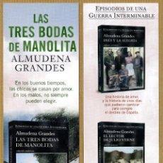 Coleccionismo Marcapáginas: MARCAPÁGINAS LAS TRES BODAS ALMUDENA GRANDE - TUSQUETS. Lote 221616471