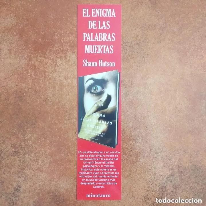 MARCAPAGINAS. EL ENIGMA DE LAS PALABRAS MUERTAS. SHAUN HUTSON. MINOTAURO. (Coleccionismo - Marcapáginas)