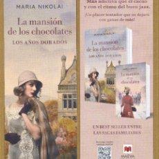 Coleccionismo Marcapáginas: MARCAPAGINAS MAEVA - LA MANSION DE LOS CHOCOLATES. Lote 227244000