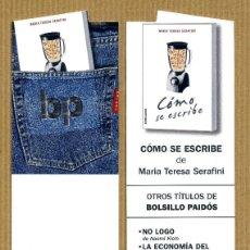 Coleccionismo Marcapáginas: MARCAPÁGINAS TROQUELADO PAIDOS - COMO SE ESCRIBE. Lote 227263610
