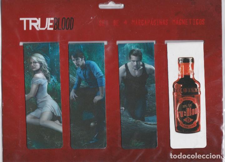 SET DE 4 PUNTOS DE LIBRO MAGNÉTICOS ( MARCAPAGINAS) BASADOS EN LA SERIE DE LA HBO TRUE BLOOD. (Coleccionismo - Marcapáginas)