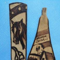 Coleccionismo Marcapáginas: COLONIA SUIZA URUGUAY ARTÍCULOS EN CUERO PUNTO DE LIBROS MARCA PÁGINAS CABALLO ANTIGUOS PINTADOS A. Lote 246824410