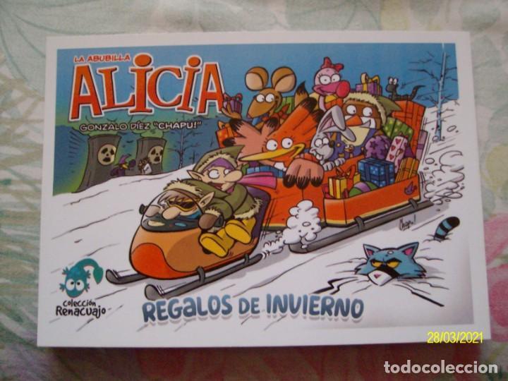 MARCAPAGINAS TIPO POSTAL LA ABUBILLA ALICIA DE GONZALO DIEZ CHAPU REGALOS DE INVIERNO UNRATED COMICS (Coleccionismo - Marcapáginas)