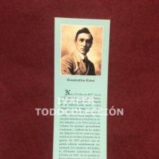 Coleccionismo Marcapáginas: MARCAPAGINAS LITERATURA ASTURIANA, BIOGRAFIA Y TEXTO OBRA DE CONSTATINO CABAL, 1997. Lote 268906859