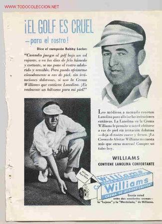 WILLIAMS. CREMA DE AFEITAR. BOBBY LOCKE CAMPEON DE GOLF. AÑO 1950 (Coleccionismo Deportivo - Merchandising y Mascotas - Otros deportes)