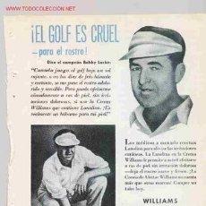 Coleccionismo deportivo: WILLIAMS. CREMA DE AFEITAR. BOBBY LOCKE CAMPEON DE GOLF. AÑO 1950. Lote 15710739