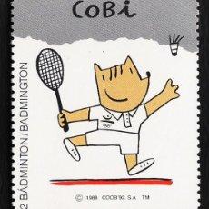 Coleccionismo deportivo: VIÑETA - OLIMPIADA BARCELONA 92 / JUEGOS OLIMPICOS - COBI - BADMINTON/BADMINGTON - ED.COOB -AÑO 1988. Lote 27584467