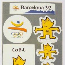 Coleccionismo deportivo: LÁMINA DE 6 PEGATINAS DE BARCELONA 92, OLIMPIADAS, JUEGOS OLÍMPICOS 1992, COBI, COOB, MARISCAL. Lote 32938173