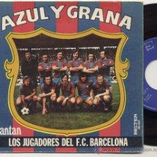 Coleccionismo deportivo: DISCO SINGLE 45 RPM CON DESPEGABLE / AZUL GRANA -CANTAN LOS JUGADORES DEL F.C.BARCELONA. Lote 27954810