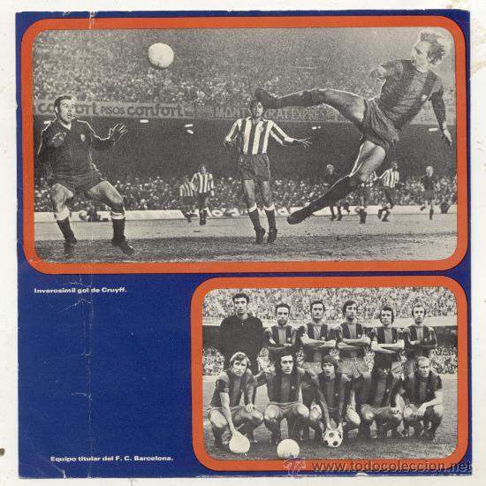 Coleccionismo deportivo: DISCO SINGLE 45 RPM CON DESPEGABLE / AZUL GRANA -CANTAN LOS JUGADORES DEL F.C.BARCELONA - Foto 4 - 27954810