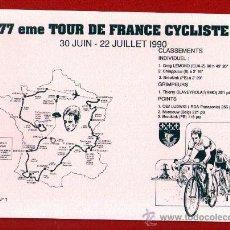 Coleccionismo deportivo: PAPEL SECANTE DE LA 77 EDICIÓN DEL TOUR DE FRANCE DE 1990- CON CLASIFICACIONES - NUEVO Y SIN USO. . Lote 29226025