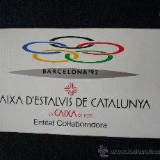 Coleccionismo deportivo: PEGATINA BARCELONA 92. JUEGOS OLÍMPICOS. CAIXA D'ESTALVIS DE CATALUNYA. . Lote 32635895