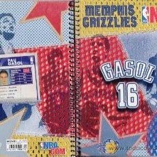 Coleccionismo deportivo: LIBRETA - BALONCESTO NBA - GASOL / MEMPHIS GRIZZLIES - 4º - 80 HOJAS CUAD.- T.DURA - ENRI -AÑOS 90. Lote 35905979
