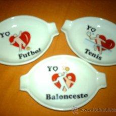 Coleccionismo deportivo: LOTE 3 CENICEROS DE PORCELANA DEPORTES AÑOS 80-FUTBOL-BALONCESTO-TENIS. Lote 35941029