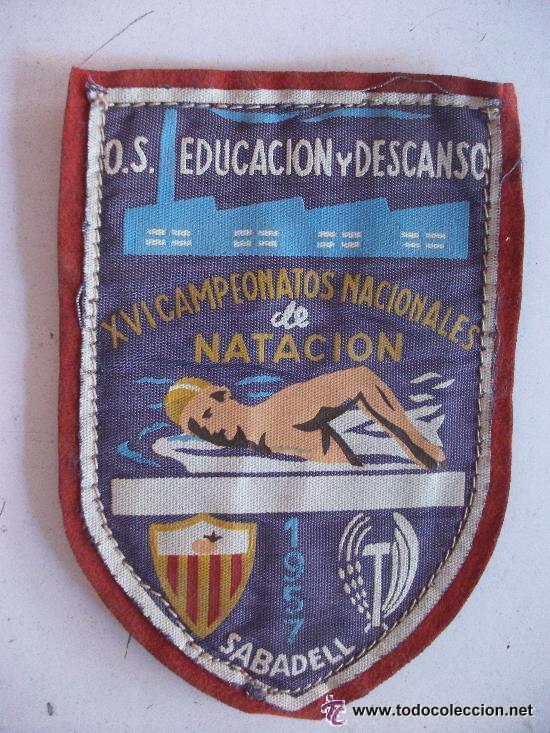 SINDICATO VERTICAL: SABADELL , 1957. XVI CAMPEONATOS NACIONALES DE NATACION. .EDUCACION Y DESCANSO (Coleccionismo Deportivo - Merchandising y Mascotas - Otros deportes)