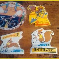 Coleccionismo deportivo: LOTE 4 PEGATINAS VUELTA CICLISTA E ESPAÑA 1985 1986 1989 CAJA POSTAL ORIGINALES, NUNCA PEGADAS.. Lote 44210267