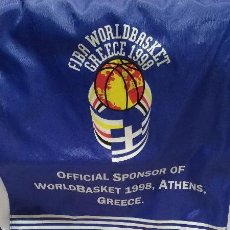 Coleccionismo deportivo: BOLSA DE TELA FIBA WORLDBASKET ATHENS GREECE 1998 CON PUBLICIDAD DE STIMOROL CHEWING GUM. Lote 50485039