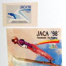 Coleccionismo deportivo: LOTE PEGATINAS ANTIGUAS VINTAGE JUEGOS OLIMPICOS INVIERNO OLYMPIC GAMES JACA 98 ARAGON PIRINEOS.. Lote 50537530