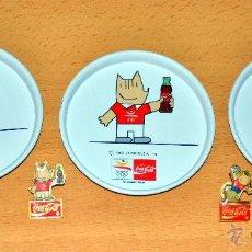 Coleccionismo deportivo: LOTE 5 OBJETOS COCA-COLA CON COBI LA MASCOTA DE BARCELONA '92: 3 POSAVASOS + 2 PINS - LOS QUE SE VEN. Lote 51820496