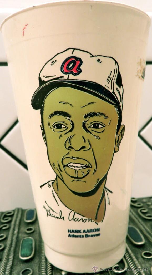 Coleccionismo deportivo: Coleccionable USA año 1973. Vaso café de 7 Eleven. Hank Aaron jugador de los Atlanta Braves. - Foto 2 - 53725093