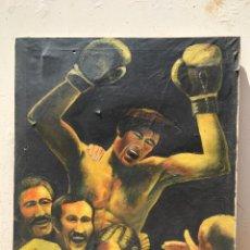 Coleccionismo deportivo: PINTURA GRAN CUADRO OLEO BOXEO AÑOS 70 URTAIN CAMPEON EUROPA PAIS VASCO CESTONA MUSEO BARCELONA (8. Lote 57231653