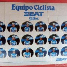 Coleccionismo deportivo: ADHESIVOS, PEGATINAS , CICLISTAS , CICLISMO , EQUIPO SEAT ORBEA , PEDRO DELGADO Y OTROS , ORIGINAL. Lote 57516013
