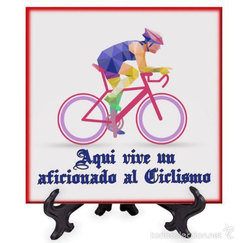 AZULEJO 15X15 AQUI VIVE UN AFICIONADO AL CICLISMO (Coleccionismo Deportivo - Merchandising y Mascotas - Otros deportes)