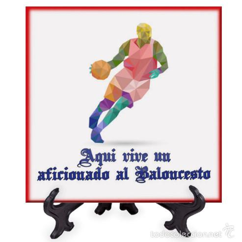 AZULEJO 20X20 AQUI VIVE UN AFICIONADO AL BALONCESTO (Coleccionismo Deportivo - Merchandising y Mascotas - Otros deportes)