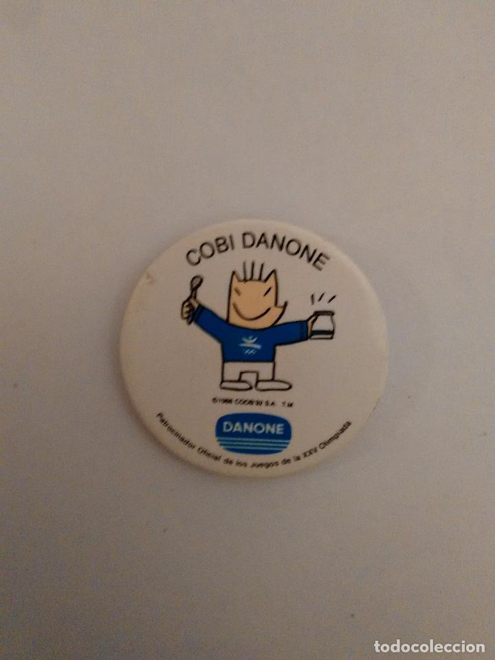 CHAPA PUBLICIDAD DANONE: COBI, MASCOTA JUEGOS OLÍMPICOS BARCELONA 92 JJOO 1992 (DIÁMETRO DE 3.7 CM) (Coleccionismo Deportivo - Merchandising y Mascotas - Otros deportes)