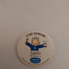 Coleccionismo deportivo: CHAPA PUBLICIDAD DANONE: COBI, MASCOTA JUEGOS OLÍMPICOS BARCELONA 92 JJOO 1992 (DIÁMETRO DE 3.7 CM). Lote 82932800