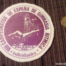 Coleccionismo deportivo: PEGATINA.VII CAMPEONATOS DE ESPAÑA DE GIMNASIA RITMICA.PALENCIA 1982.. Lote 88093168