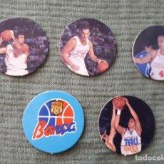 Coleccionismo deportivo: LOTE DE 5 TAZOS O CAPS DE BALONCESTO - BARCELONA, ESPAÑA, BASKONIA TAU. Lote 96900759