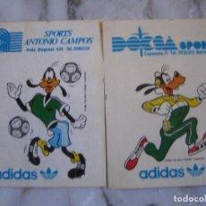 Coleccionismo deportivo: INTERESANTE LOTE 2 ADHESIVOS PEGATINAS PUBLICIDAD ADIDAS GOOFY . Lote 100380955