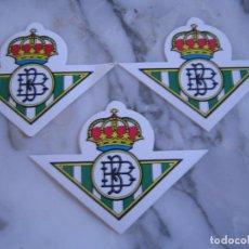 Colecionismo desportivo: INTERESANTE LOTE 3 ADHESIVOS PEGATINAS DEL REAL BETIS BALOMPIE FUTBOL. Lote 100381103