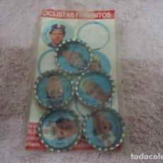 Coleccionismo deportivo: MAGNIFICO JUEGO ANTIGUO CHAPAS LUZIL CONCENTRADO CICLISMO COMPLETO AÑO 1985 CHAPA Y PEGATINAS ORIGIN. Lote 113363419