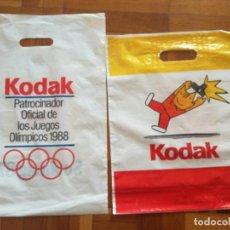 Coleccionismo deportivo: 2 BOLSAS DE PLASTICO KODAK PATROCINADOR OFICIAL OLIMPIADAS BARCELONA COBI. Lote 125684119