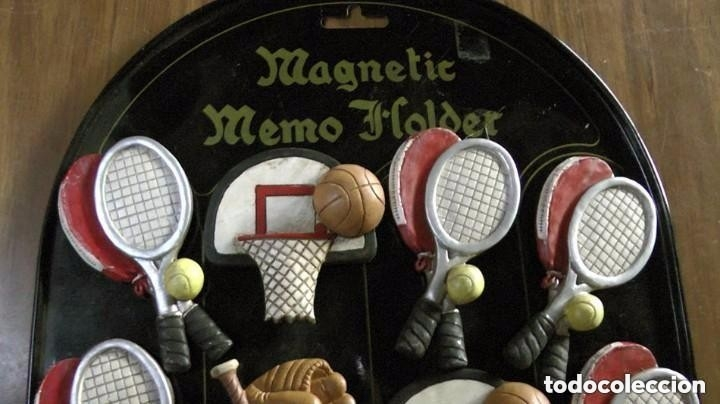 Coleccionismo deportivo: expositor con 12 imanes magnetic memo holder beisbol baloncesto tenis rugby iman deportes - Foto 2 - 178266458